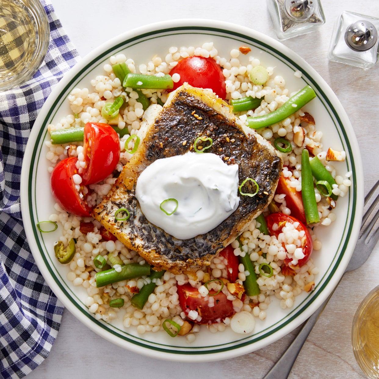 Za'atar Barramundi & Couscous with Marinated Tomatoes & Mint Yogurt