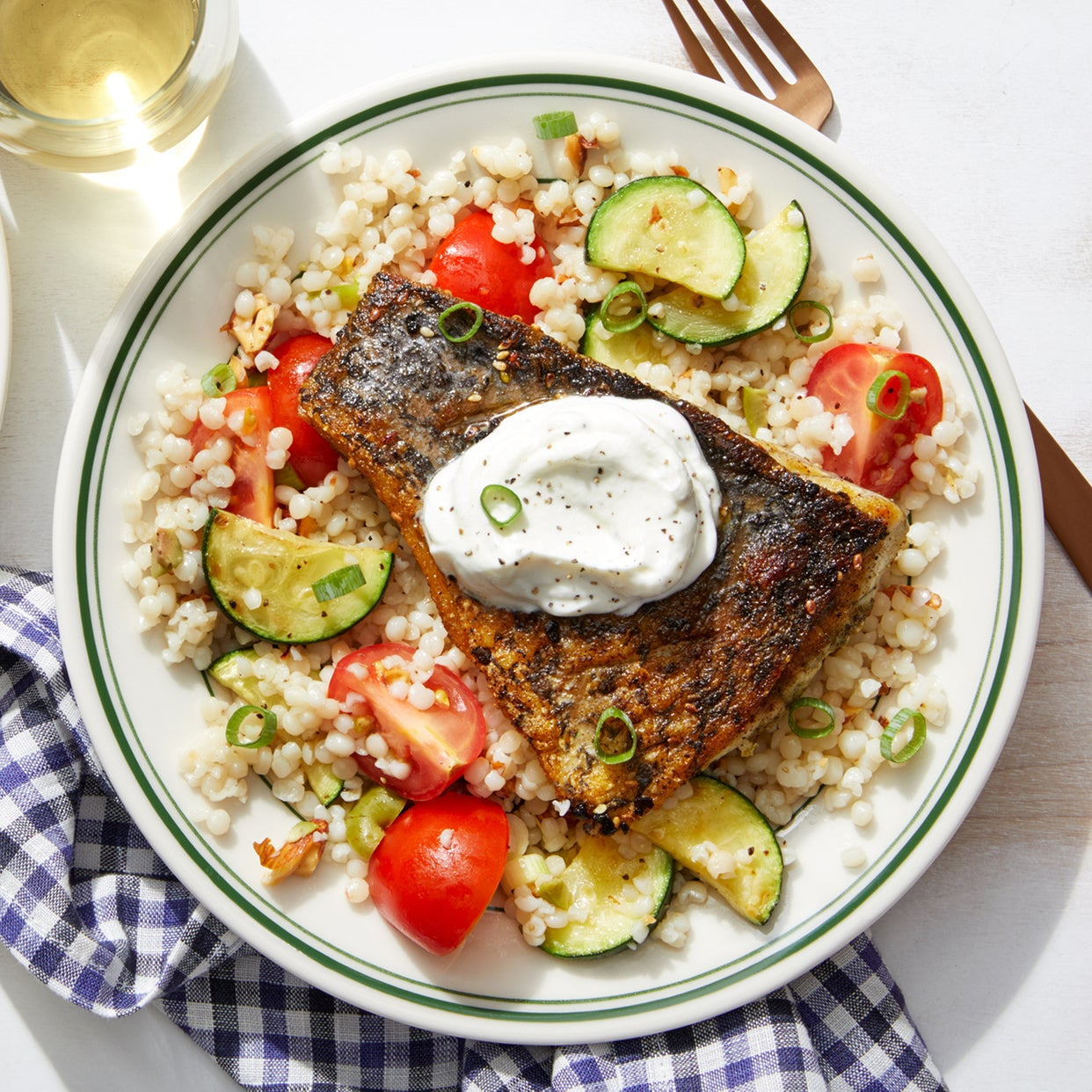 Za'atar Barramundi & Pearl Couscous with Marinated Tomatoes