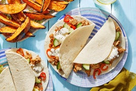 Hoisin Chicken Tacos with Marinated Cucumber & Miso-Roasted Sweet Potatoes