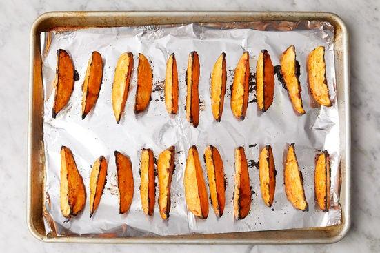Prepare & roast the sweet potatoes: