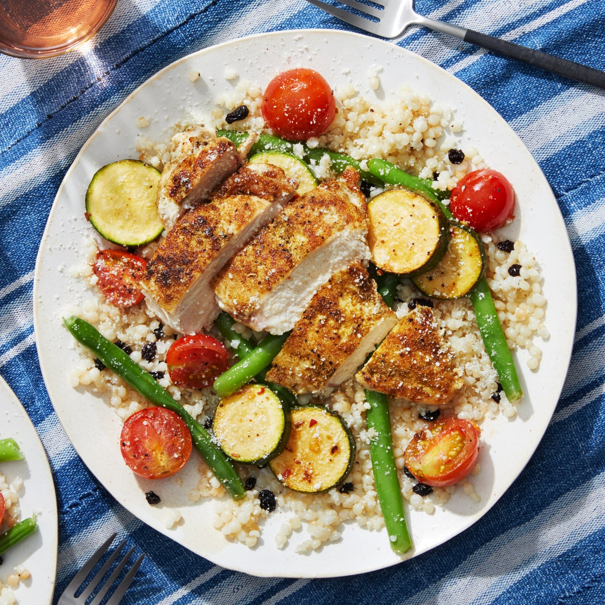 Tuscan Chicken & Summer Vegetables with Pearl Couscous