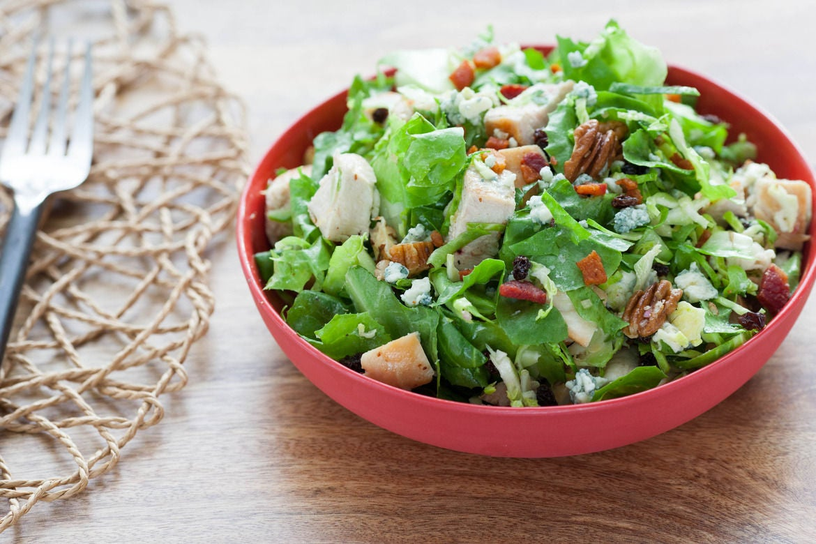 Chopped Chicken & Brussels Sprouts Salad with Blue Cheese, Currants ...