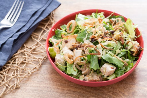 Chopped Chicken & Brussels Sprouts Salad with Blue Cheese, Currants & Crispy Shallots
