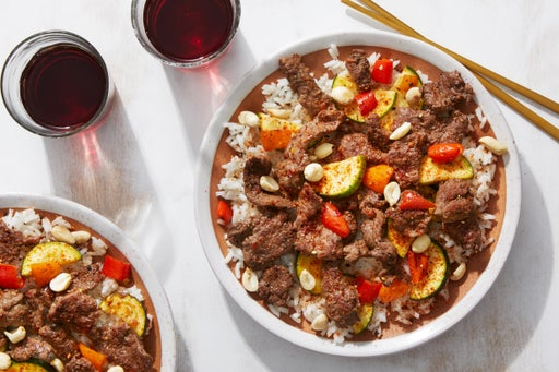 Sweet & Spicy Beef Stir-Fry with Zucchini, Peppers, & Peanuts