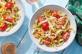 Fresh Basil Fettuccine with Tomatoes & Sweet Corn