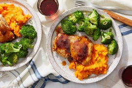 Sour Cherry-Glazed Chicken Thighs with Broccoli & Mashed Sweet Potatoes
