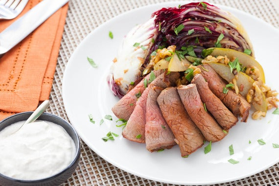 Pears With Roast Beef And Horseradish Cream Recipe — Dishmaps