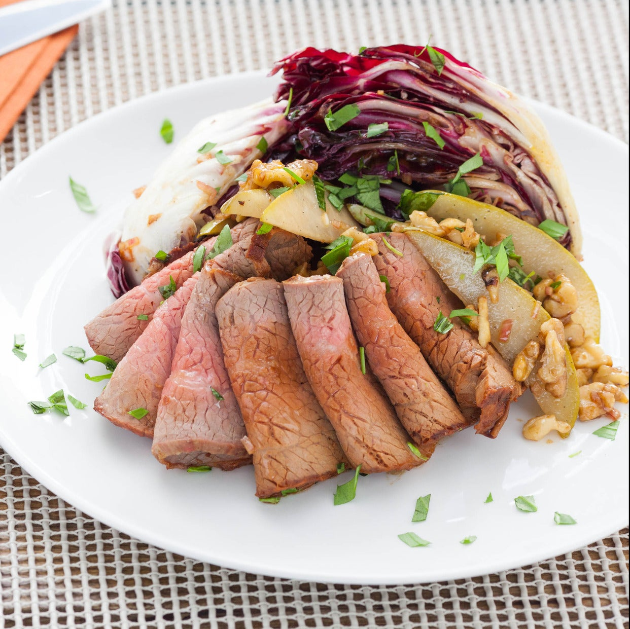 Roast Beef with Treviso-Pear Salad & Horseradish Sour Cream