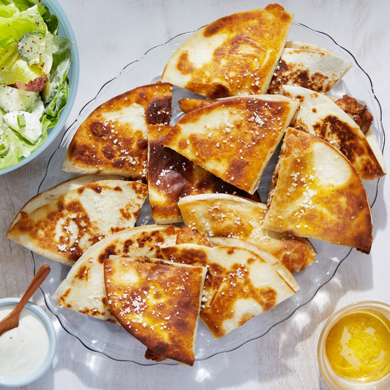 Spiced Chicken Quesadillas with Butter Lettuce Salad & Creamy Lime Dressing