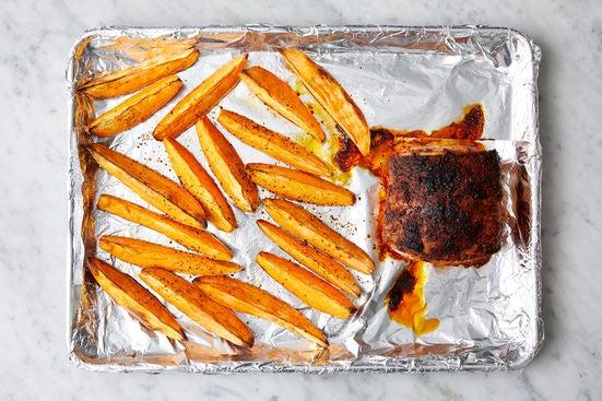 Roast the pork & sweet potatoes: