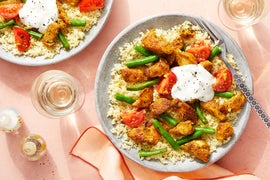 Spiced Chicken & Couscous with Sautéed Summer Vegetables & Tzatziki