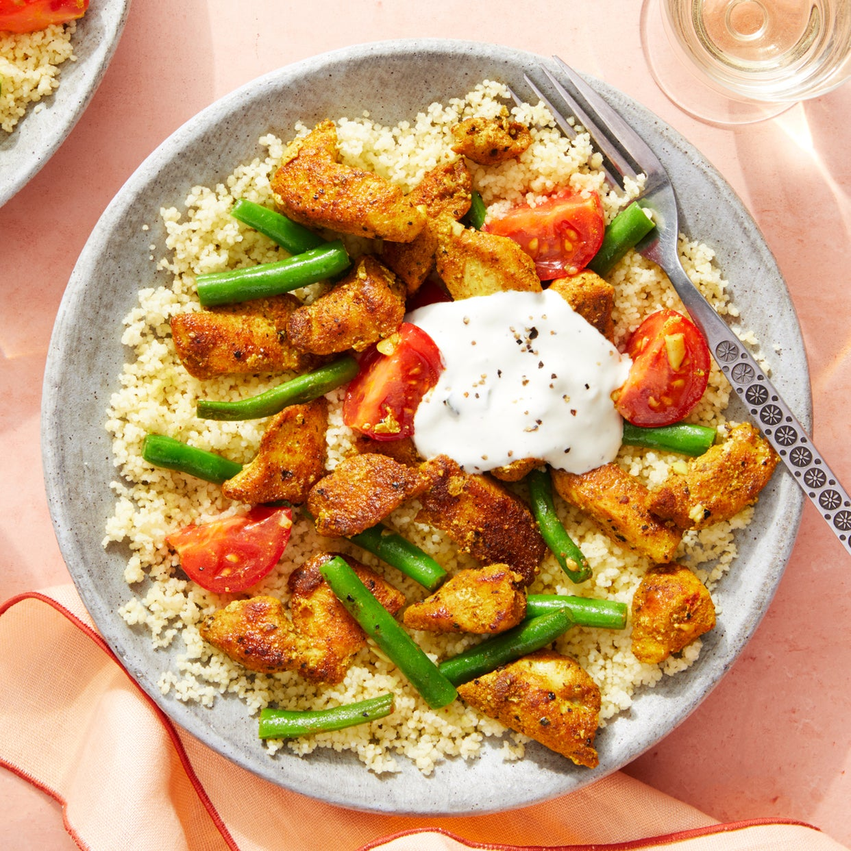 Spiced Chicken & Couscous with Sautéed Summer Vegetables & Tzatziki