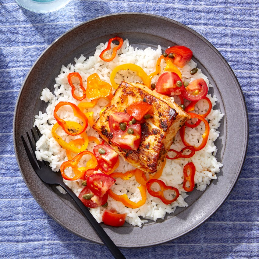 Seared Cod & Peppers over Creamy Rice with Marinated Tomatoes