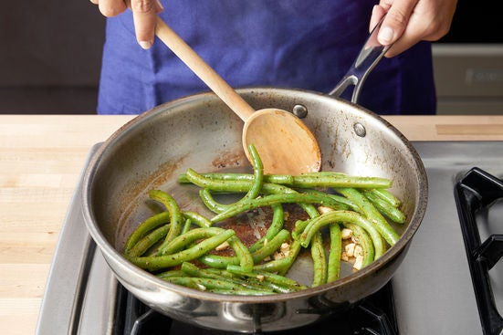 Cook the green beans & serve your dish: