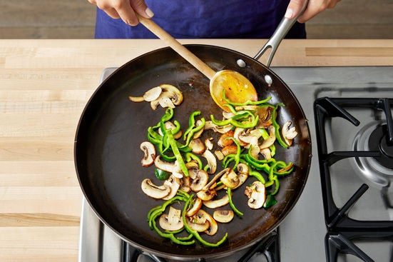 Cook the mushrooms & poblano pepper: