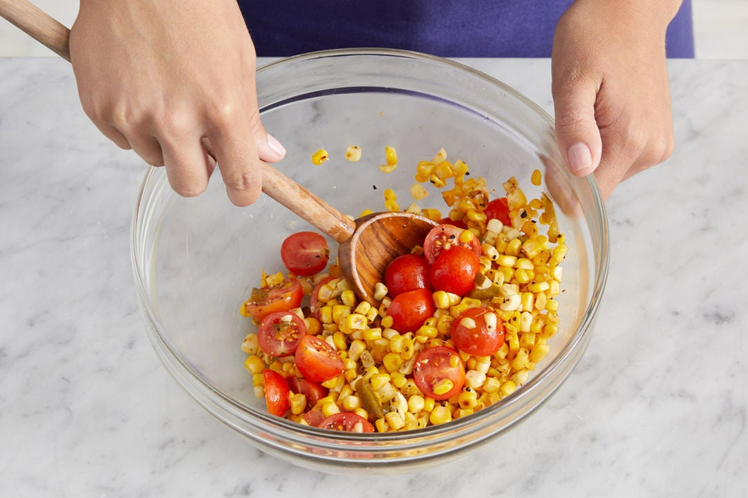 Cook the corn & finish the salad: