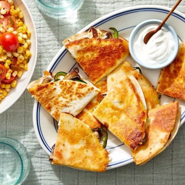 Crispy Cheese Quesadillas with Poblano Pepper & Queso Blanco