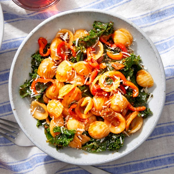 Sicilian-Style Orecchiette with Kale & Sweet Peppers