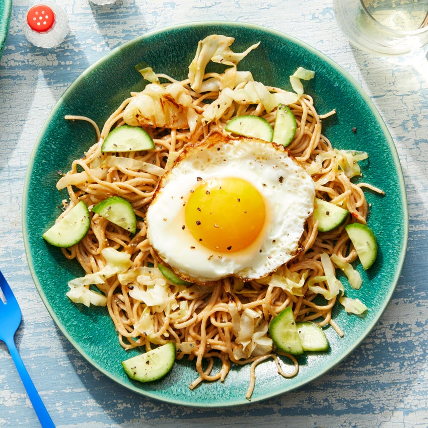 Sweet & Spicy Soba Noodles with Cabbage, Cucumbers, & Fried Eggs