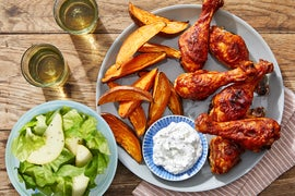Spicy BBQ Chicken Drumsticks with Roasted Sweet Potatoes  & Pear Salad