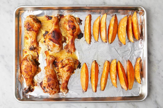 Roast the chicken & sweet potatoes: