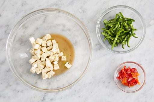 Prepare the ingredients & marinate the cheese: