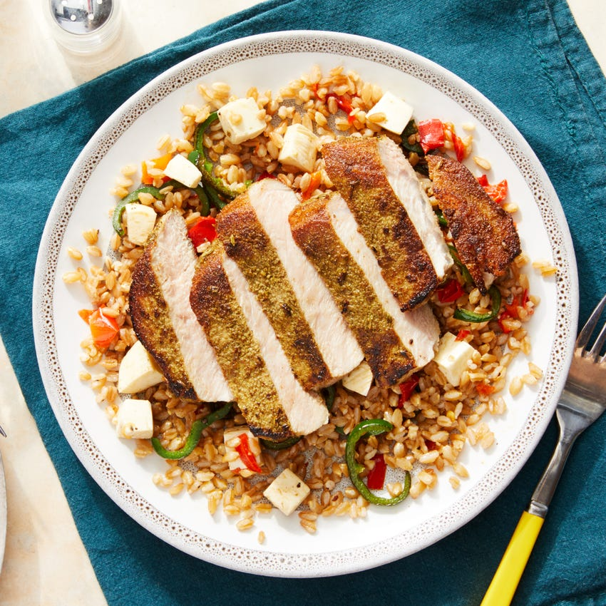 Tuscan Pork Chops with Farro & Marinated Mozzarella