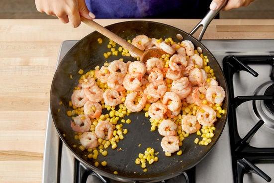 Cook the shrimp & corn: