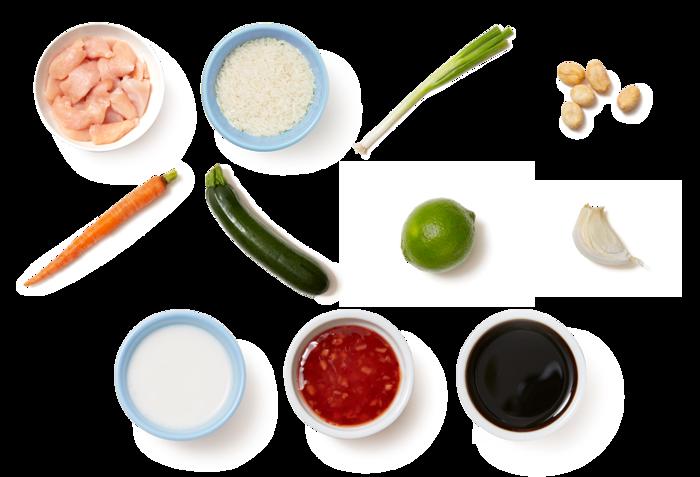 Sweet Chili Chicken with Coconut Rice, Zucchini & Peanuts