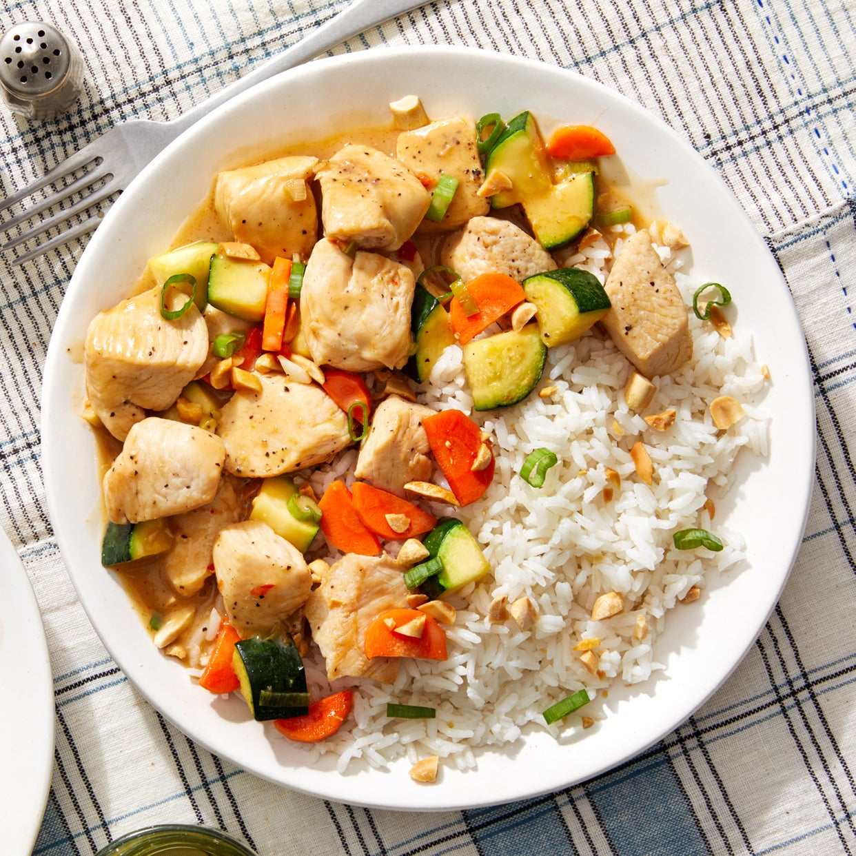 Sweet Chili Chicken with Coconut Rice, Zucchini & Peanuts