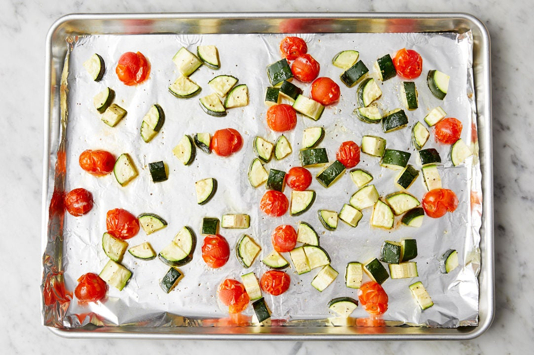 Prepare & roast the vegetables: