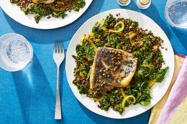 Seared Barramundi & Caper-Butter Sauce with Kale & Lentils