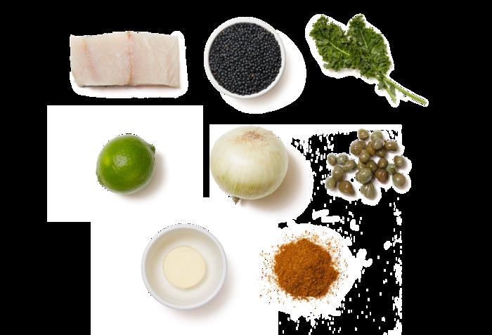 Barramundi & Caper-Butter Sauce with Kale & Lentils