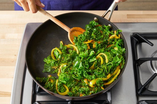 Cook the onion & kale: