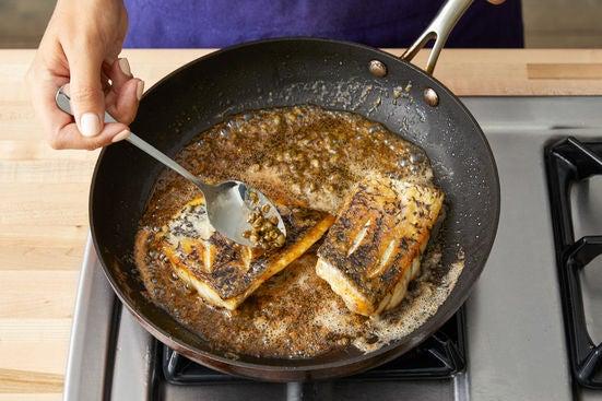 Finish the fish & make the sauce: