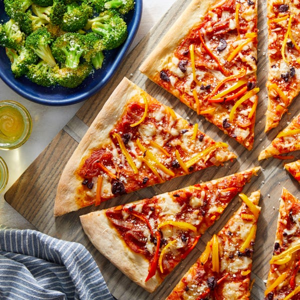 Pepper & Onion Two-Cheese Pizza with Spicy Broccoli