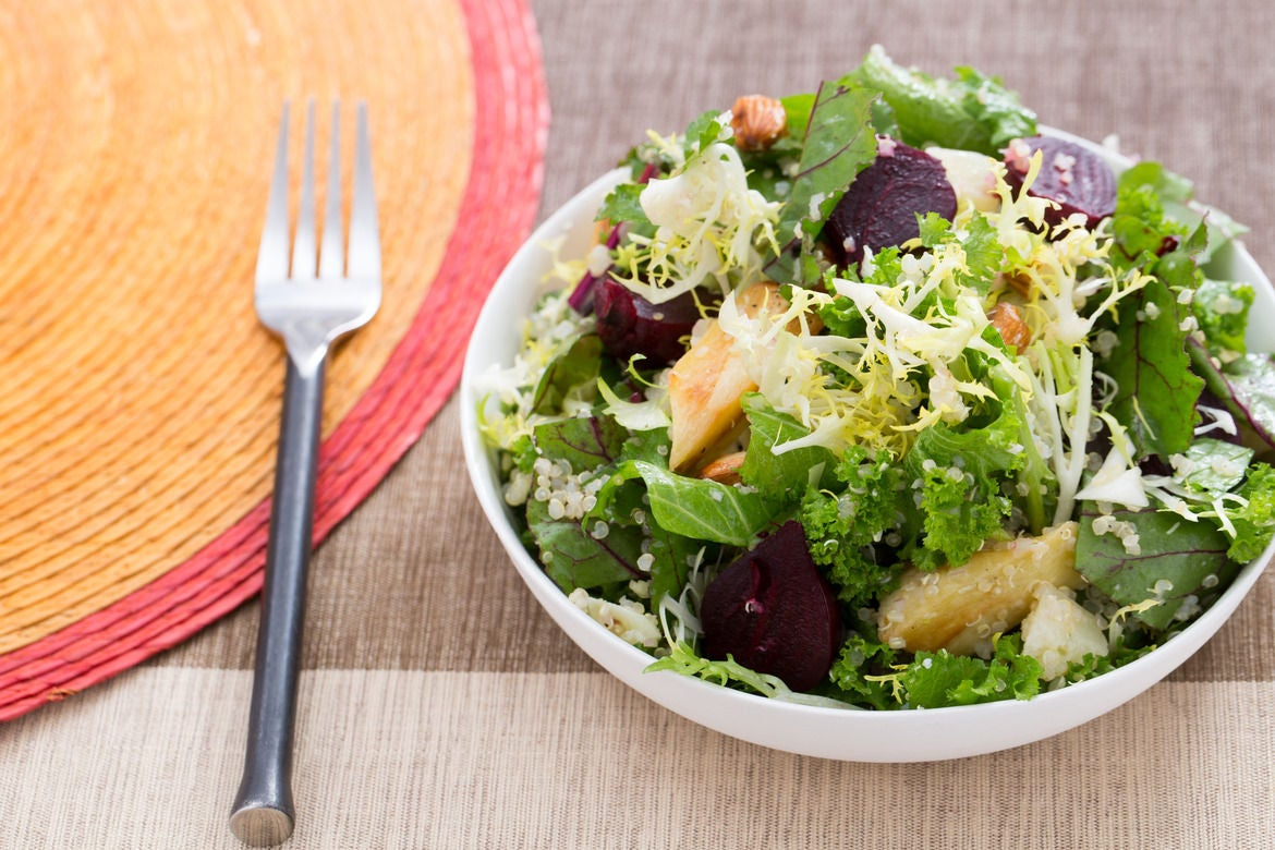 Winter Greens, Parsnip & Beet Salad with Quinoa, Almonds & Manchego Cheese