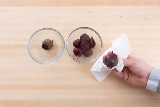 Boil & peel the beets: