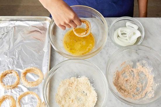 Make the crispy onion rings: