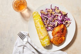 Spicy Glazed Chicken & Honey Butter Corn with Coleslaw & Crispy Onions