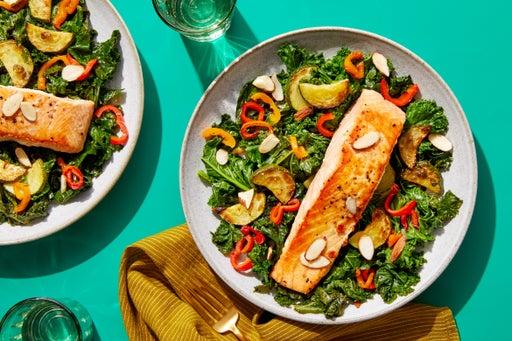 Mediterranean Salmon with Sautéed Kale  & Zucchini