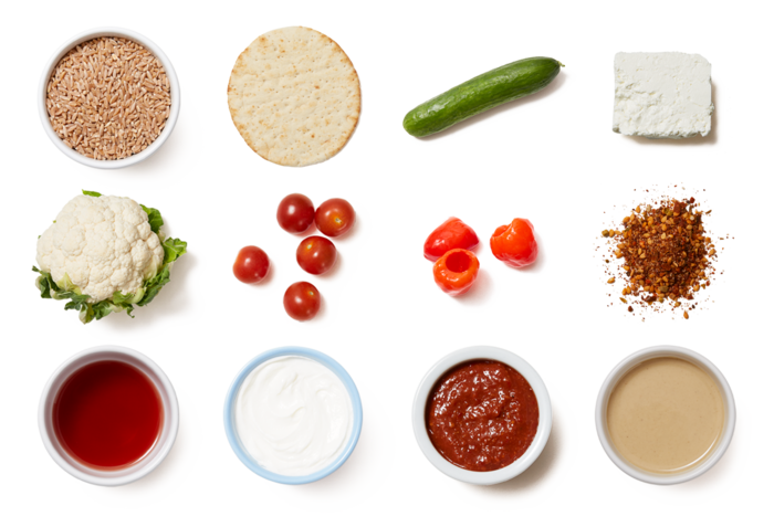 Roasted Cauliflower with Tahini Farro Salad & Harissa Yogurt