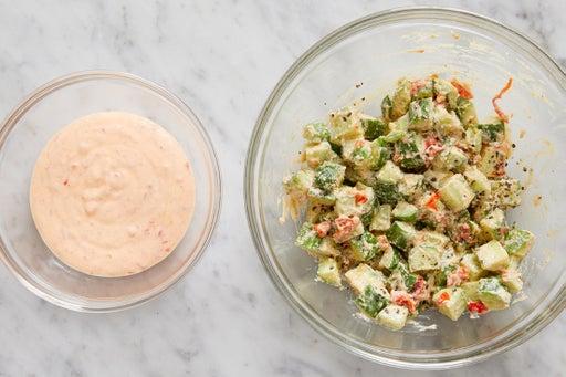 Dress the cucumbers & make the harissa yogurt: