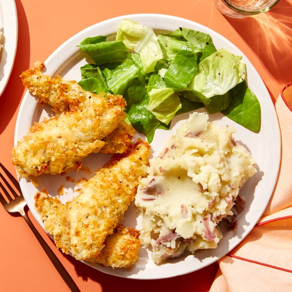 Crispy Chicken Tenders & Mashed Potatoes with Butter Lettuce Salad & Ranch Dressing