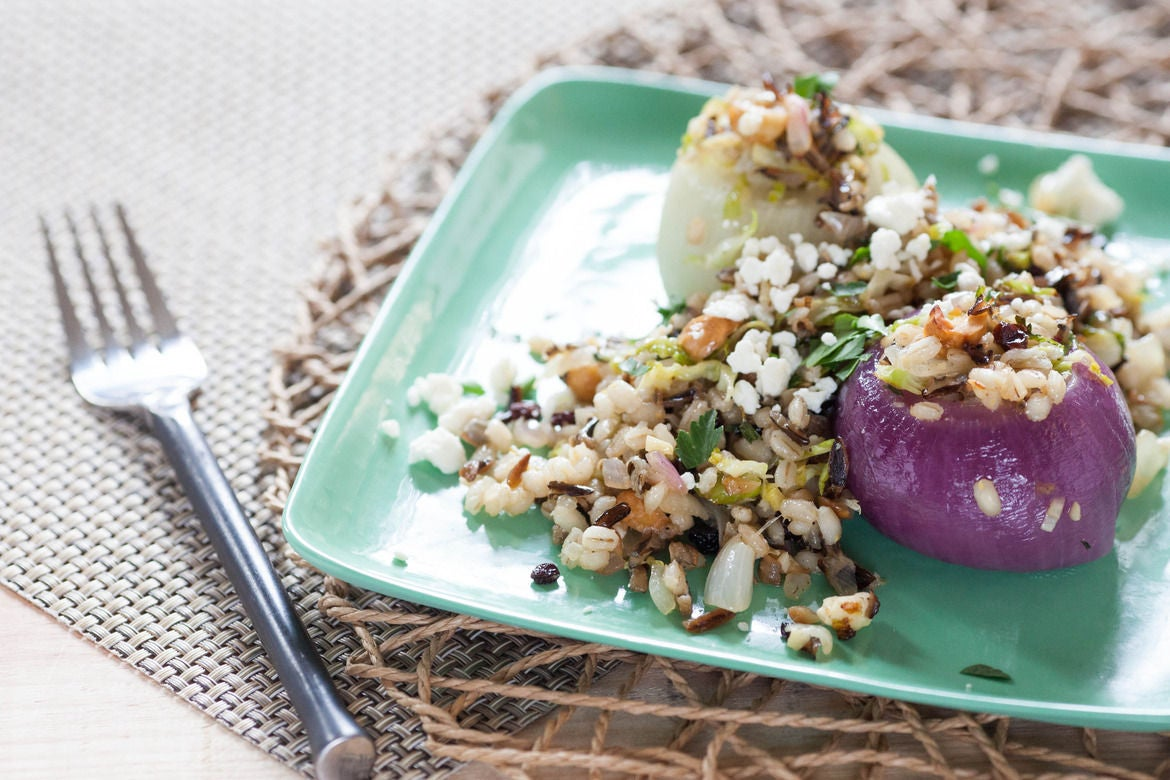 Roasted & Stuffed Onions with Barley, Black Rice, Brussels Sprouts, Hazelnuts & Feta
