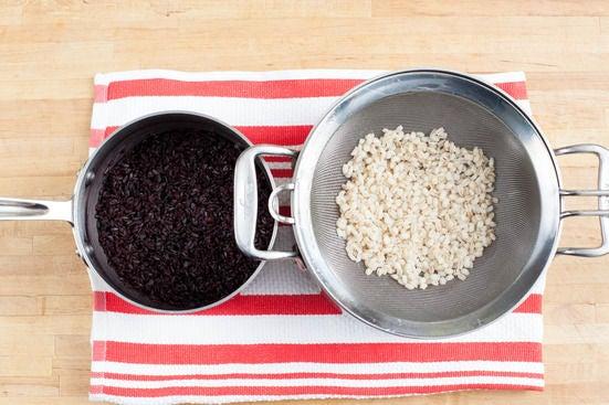 Cook the black rice & barley: