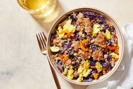 Pork Fried Cauliflower Rice with Cabbage & Sweet Peppers