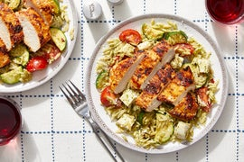 Seared Chicken over Orzo Pasta with Tomatoes,  Zucchini, & Basil Pesto
