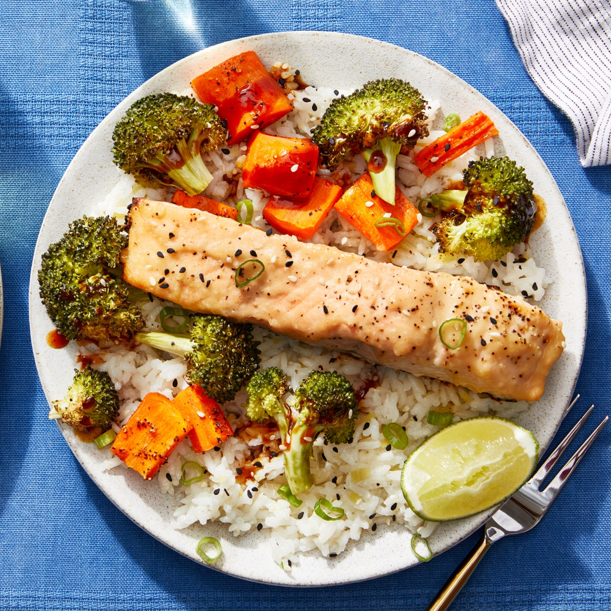 Miso-Glazed Salmon with Roasted Broccoli, Carrots, & Aromatic Rice