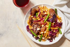Sweet & Spicy Orange Beef with Sesame Oil, Wonton Noodles, & Cabbage
